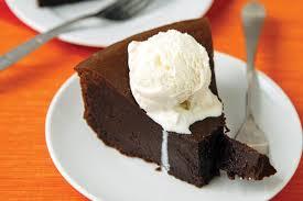 Dark Chocolate Dreams Flourless Cake Served Warm With Vanilla Ice Cream