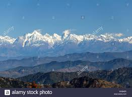 mountain ranges of himalayas himalaya mountain range as seen from jhandi devi view point stock