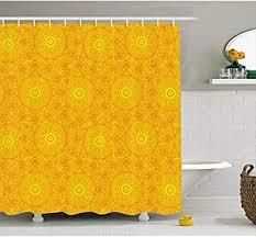 yeuss gelber mandala duschvorhang lebendige farbige abstrakte lotus blumen kunstwerk warme sonne inspiriert stoff badezimmer dekor set mit