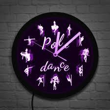 pole led beleuchtung wanduhr pole tanzen moderne tänzerin silhouette led licht geschenk für sie stehlen rohr tanzen wand deco