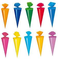 30 deko schultüten länge 12cm 10 verschiedene farben