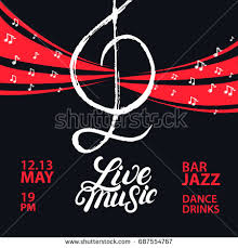 Live Music Poster With A Treble Clef And Notes For Concert Party Vintage Retro