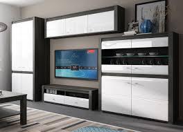 wohnzimmer set sevilla wohnwand 4 teilig schwarzkiefer mdf weiß hochglanz