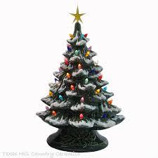 Drifting Snow Ceramic Christmas Tree 18 Tall Green Base Color Lights