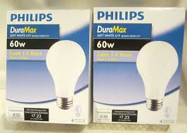 8 2 packages phillips duramax 60w soft white a19 light bulbs