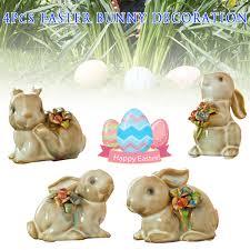4 Unids Vendimia Cerámico Conejito Conejo De Pascua Decoraciones Fiesta Adornos De Casa Regalos