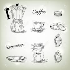 Hand Drawn Coffee Set Maker Vintage Posters Of Vector