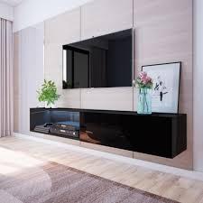 selsey tv lowboard tv hängeboard larka 200 cm mit led beleuchtung in schwarz hochglanz