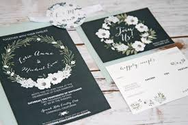 Vintage Winter Floral Wreath In Navy White Wedding Invitations