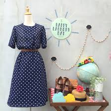 timeless two step vintage 1940s 1950s navy blue and white polka