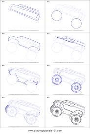 How To Draw MonsterTruck Jump Printable Step By Step Drawing Sheet ...