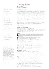 Resume For Hospitality Job Sample Example Hotel Manager Template Description