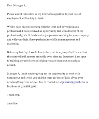 Free Resignation Letter Free Resignation Letter Format In Word Free