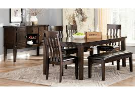 Haddigan Dark Brown Rectangle Dining Room Extension Table W 4 Upholstered Side Chairs Bench