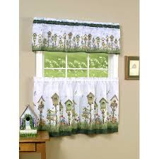 Walmart Kitchen Cafe Curtains by Birdhouse 3 Piece Kitchen Curtain Tier U0026 Valance Set 36 In Long