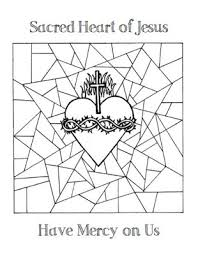 Click Here For A Coloring Page With The Sacred Heart On Stained Glass Background
