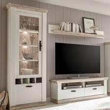 wohnwand mediawand weiß landhausstil tv schrank lowboard standvitrine wohnzimmer