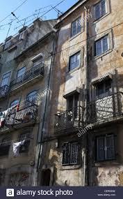 Old Run Down Housing Apartment Block Flats Central Lisbon Portugal