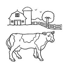Coloring Sheet Of Cow With Barn In The Background