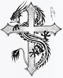Tribal Dragon Cross Tattoos