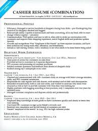 Cashier Job Description Resume Sample Example Of Combination