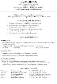 General Resume Objective Examples For Curriculum Vitae Hotel Restaurant Management