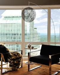 Calm Contemporary Floor Lamps Color Closed Large Window Without Curtain And Iron Chairs Foundation