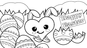 Happy Easter Sweet Heart Coloring Page