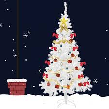 7Ft White Christmas Tree Artificial Unlit Premium Spruce Hinged Tree