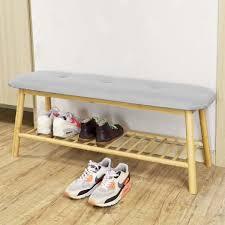 banc rembourré design avec 1 étage de rangement meuble d entrée