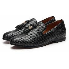 Shiny Woven Style Men Loafers Shoes With Style Tassel FanFreakz