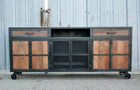 Reclaimed Wood Media Console Vintage Industrial Style Area For Center Speaker Handmade And