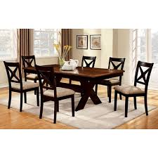 7pc Dining Table Set Wood Black Brown