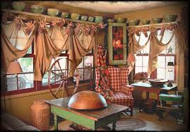 Primitive Curtains For Living Room by Country Primitive Home Decorating Ideas