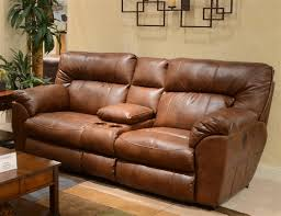 Leather POWER Reclining Console Loveseat by Catnapper