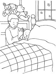 A Boy Lords Prayer Before Bedtime Coloring Page