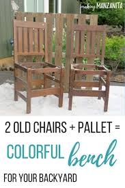 Colorful Upcycled Chair Bench For Your Backyard - Making Manzanita Weather Resistant Round Table Ding Set Chicago Wicker Malibu Contemporary Club Chair W Cushion Becker How To Choose And Look After Your Wooden Garden Fniture Blog 7 Taking A Look At Uncomfortable Wooden Chairs In College 24 Ways To Make The Most Of Tiny Apartment Balcony Willow Making Workshop Fortwhyte Alivefortwhyte Alive Three Posts Cadsden Patio Reviews Wayfair Mainstays Outdoor Recliner Ashwood Walmartcom Adirondack Pattern Sante Teak Wingback Chairs Belle Escape Recover Cushions Quick Easy Jennifer Maker