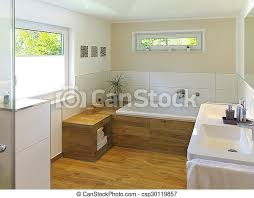 modernes badezimmer mit holzfußboden badewanne waschbecken
