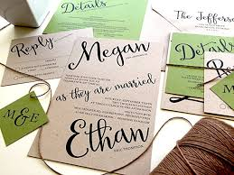 Wedding Invitation Set Rustic Kraft Paper Invitations Green And Brown Recycled Suite