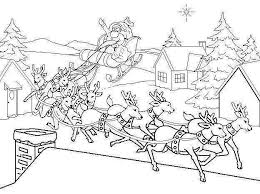 Printable Coloring Pages Of Santa With His Reindeer