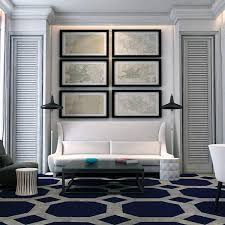 White And Dark Blue Color Combination For Interior Design In Mediterranean Style