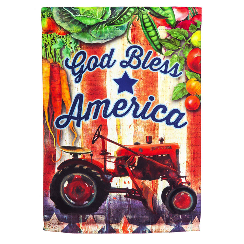 Evergreen Tractor God Bless America Suede Garden Flag
