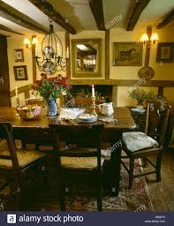 Oak Table And Chairs In Beamed Yellow Cottage Dining Room ... Marvellous High Ding Chairs Set Of 4 Astonishing Fniture Barley Twist Table Images Round Room Tables 1940s Vintage Or Kitchen Of Antique Edwardian Oak Draw Leaf Carved Pair Wood Throne Amazing Detail 1850 Twist Ding Room Table And 6 Chairs Renaissance At English Jacobean Chair Amazoncom Rustic Gate Leg For Its The Perfect Entertaing Family Friends