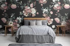 fototapete rosa cremefarben und schwarze vintageblumen