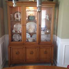 Mid Century Lighted Pecan Italian Provincial China Cabinet