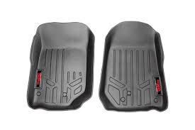 100 Heavy Duty Truck Floor Mats Rough Country M6141 Front Fitted For 0713 Jeep Wrangler JK