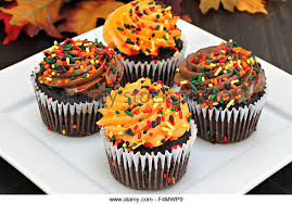 Four chocolate cupcakes frosted in chocolate and orange with sprinkles for autumn Selective focus on