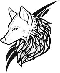 Black Tribal Wild Wolf Tattoo Stencil On Paper