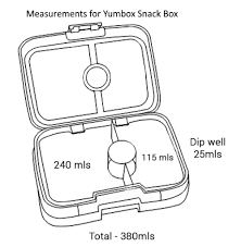 Drawing With Measurements For The Yumbox Snack Box
