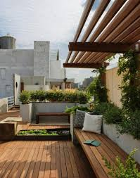 Wooden Bench Seat Design by Interesting Roof Terrace Design With Long Wooden Bench Seat And